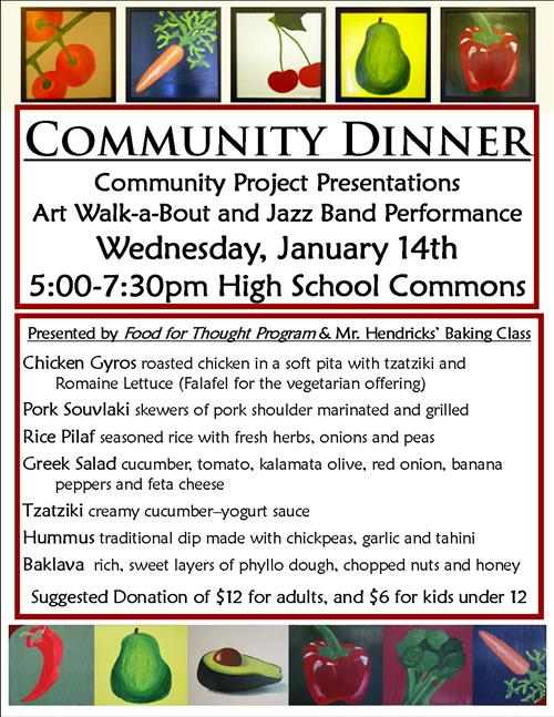 Community Dinner and Student Exhibitions