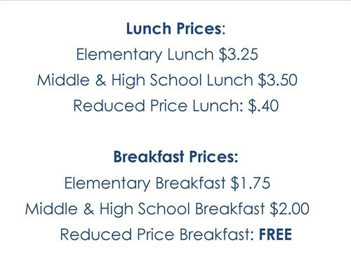 Lunch and Breakfast Prices